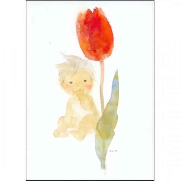 Postkarte Tulpe und Baby