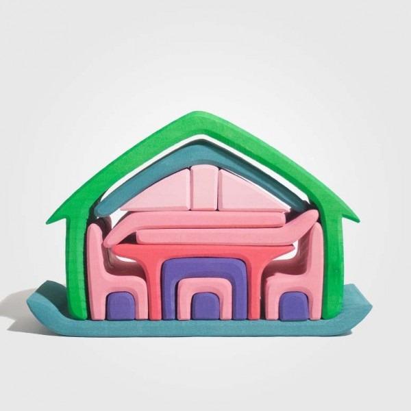 Möbelhaus grün-rosa