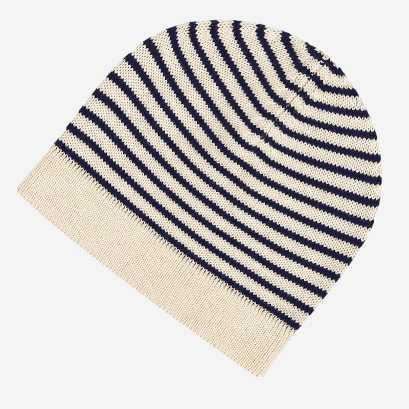 Mütze striped Wolle ecru/navy