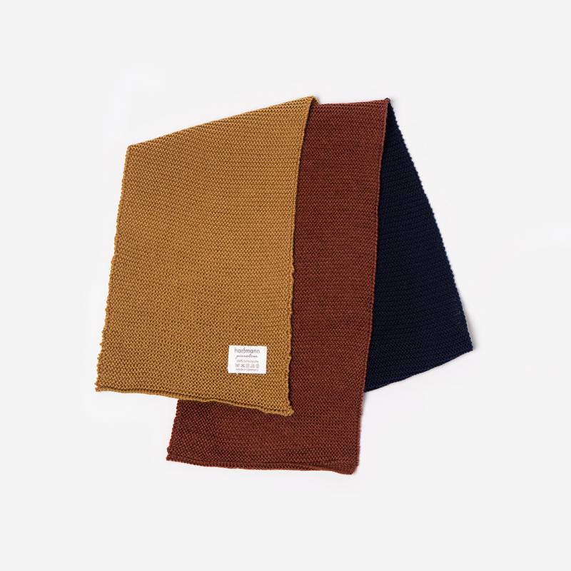 Schal 3-farbig ocker-navy-bronze