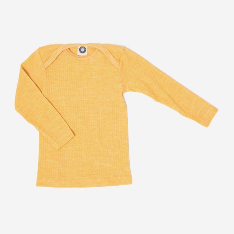 Baby Schlupfhemd von Cosilana aus Baumwolle/Wolle/Seide in gelb meliert 1