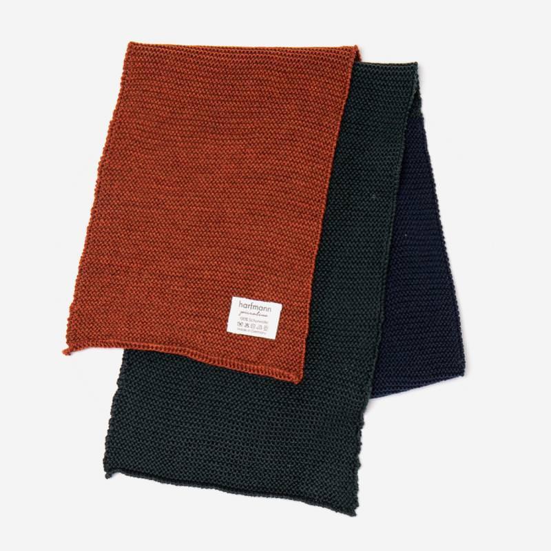 Schal von Harfmann Piccolino aus Wolle 3-farbig fuchs-navy-tanne
