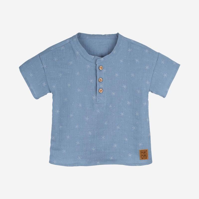 Musselin Hemd blau