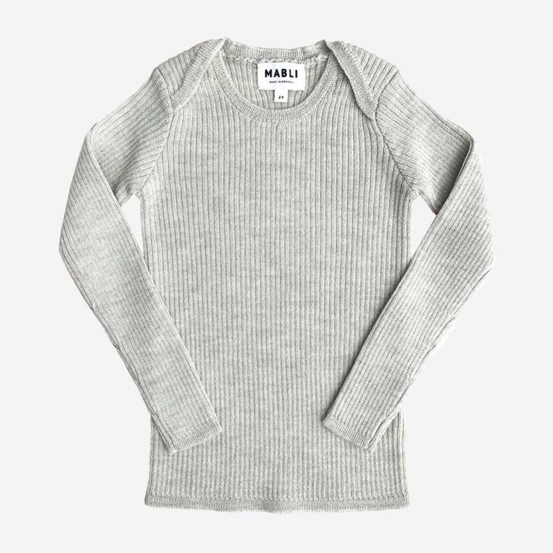 Pullover Skinny Rib Merinowolle marble