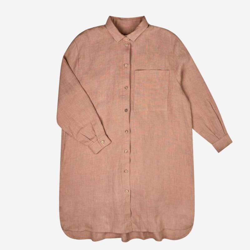 Damen Shirtdress Pepi Leinen misty rose