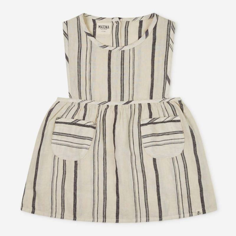 Nora Dress Leinen beige/striped