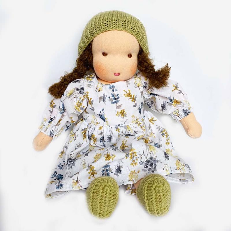 Puppen Mädchen nach Waldorfart groß braunes Haar