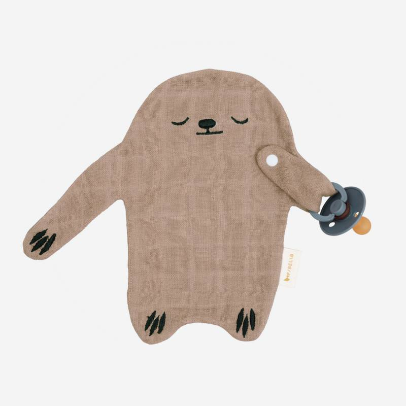 Schnullerband Cuddle Sloth warm grey