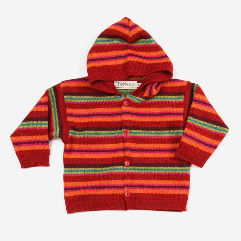 Baby und Kinder Kapuzenjacke Daniel aus Wolle von Flomax in mohnrot/mango