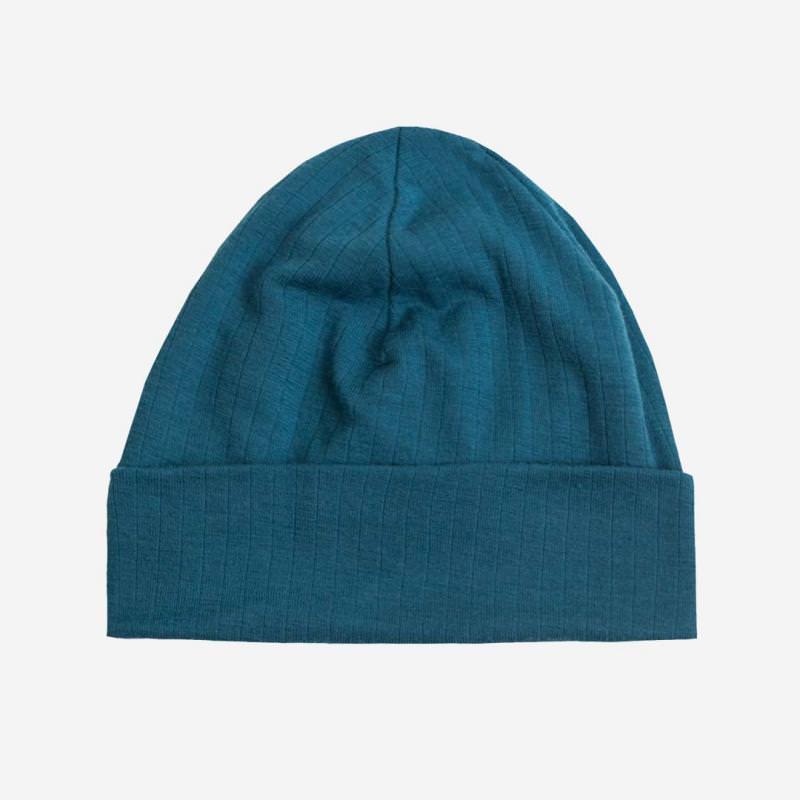 Mütze Merinowolle petrolblau