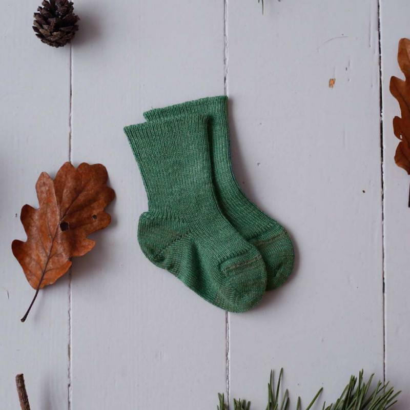 Babysocken Wolle dusty green