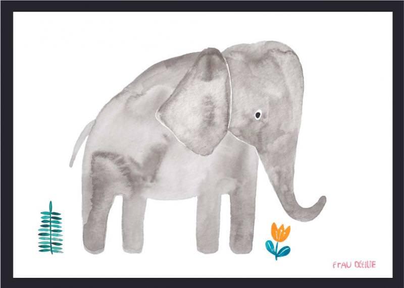 Print Elefant mit Blumen