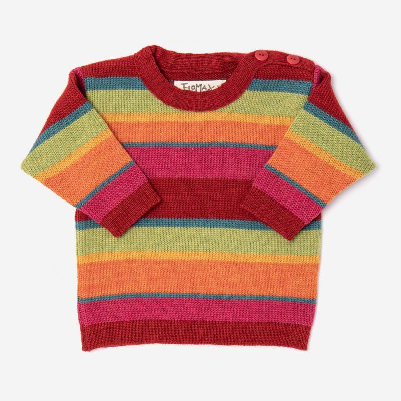 Gestreifter Baby Pullover Arco aus Wolle von Flomax in mohnrot/bunt