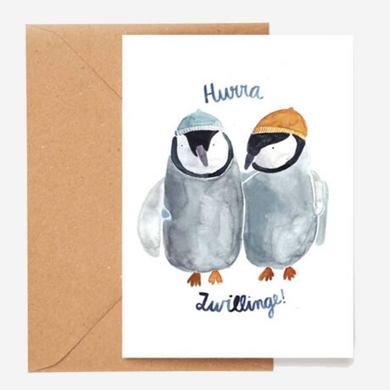 Klappkarte Hurra Zwillinge Pinguine