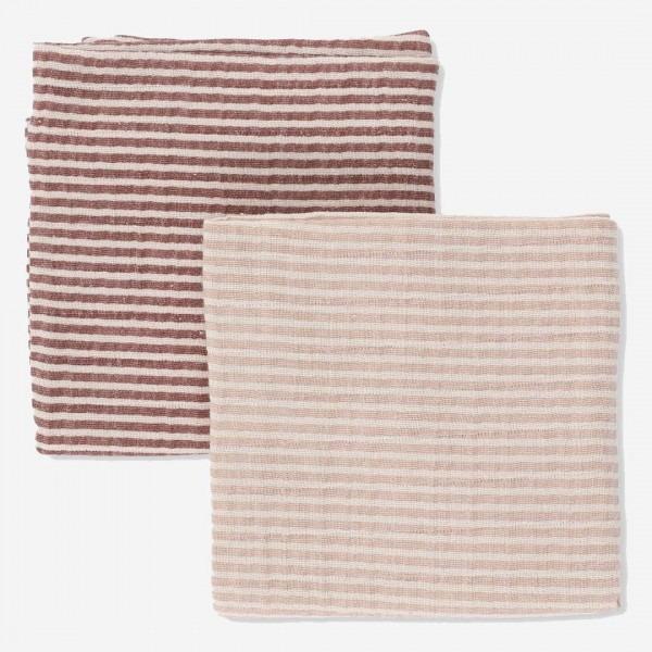Musselin Tuch Streifen 2er Pack red-blush