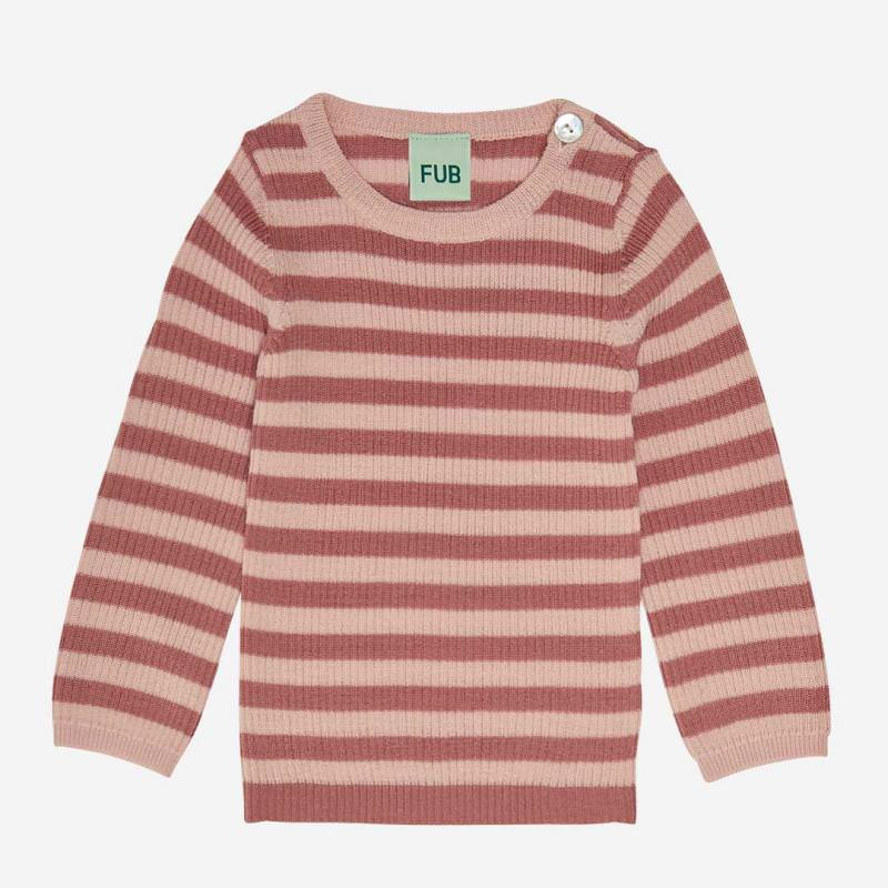 Baby Rib Pullover Wolle coral/pale pink