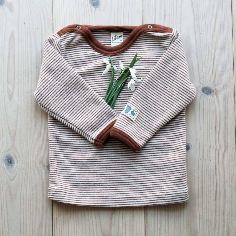 Baby Shirt Wolle/Seide Ringel rust