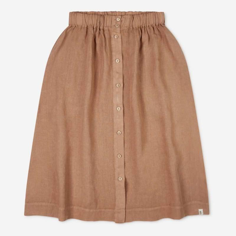 Damen Rock Elsa Leinen tan