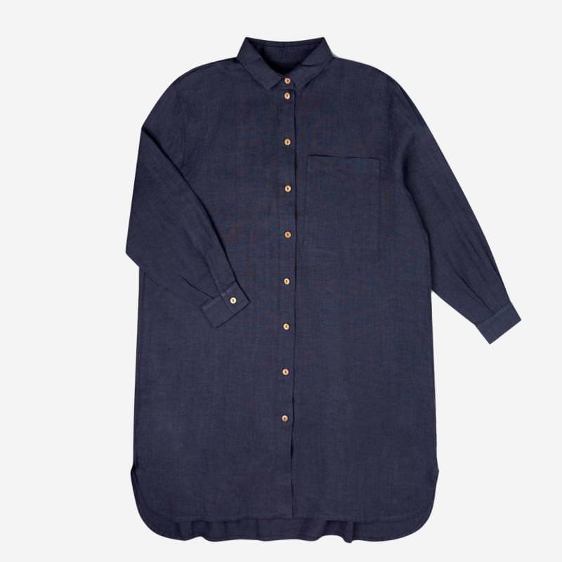 Damen Shirtdress Pepi Leinen indigo