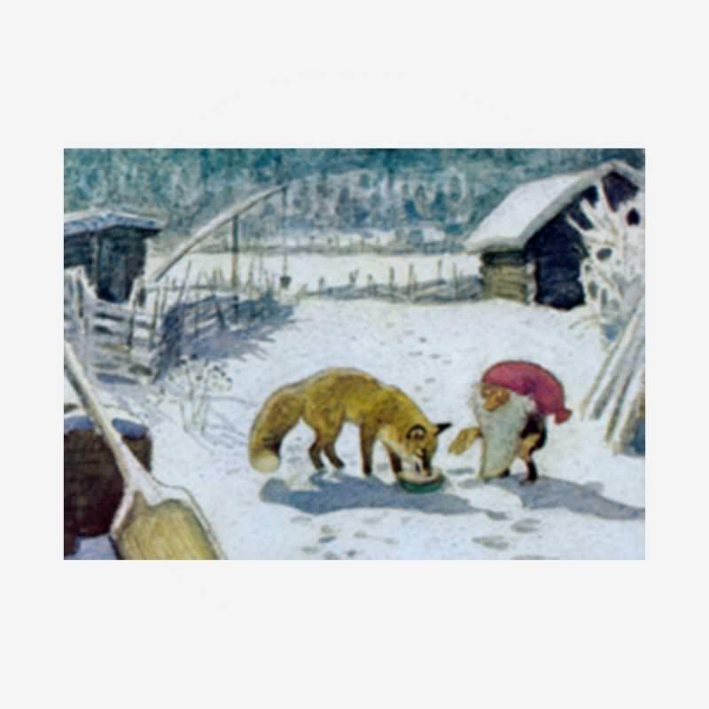 "Postkarte ""Tomte füttert den Fuchs"""