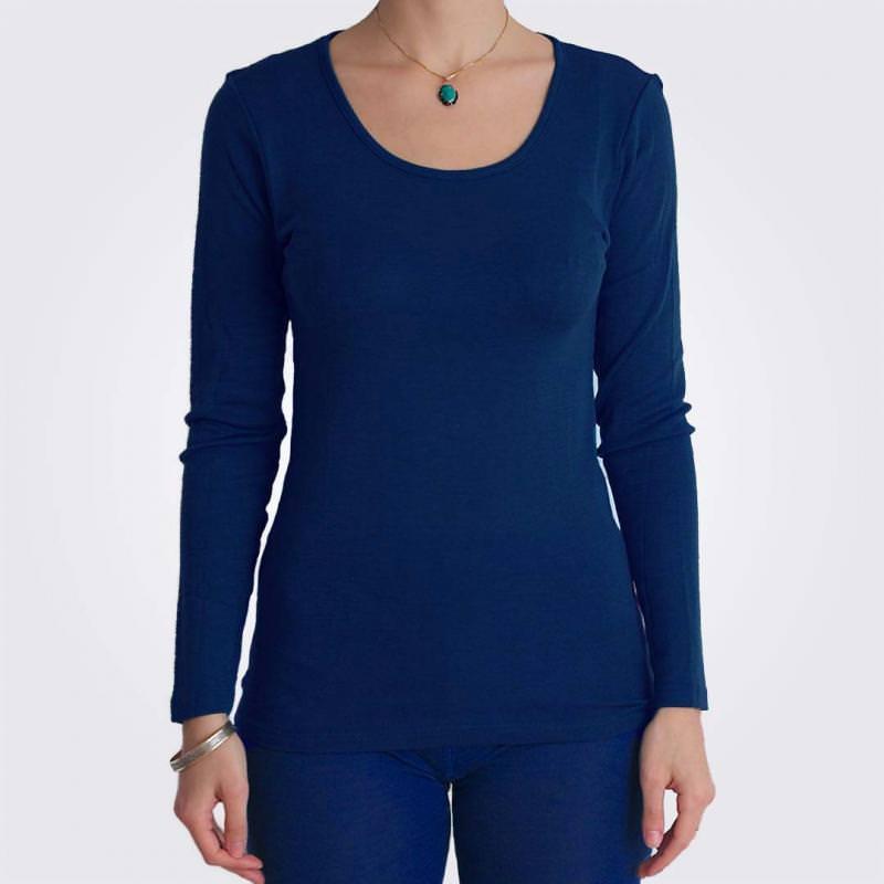 Unterhemd Rundhals Wolle/Seide dunkelblau