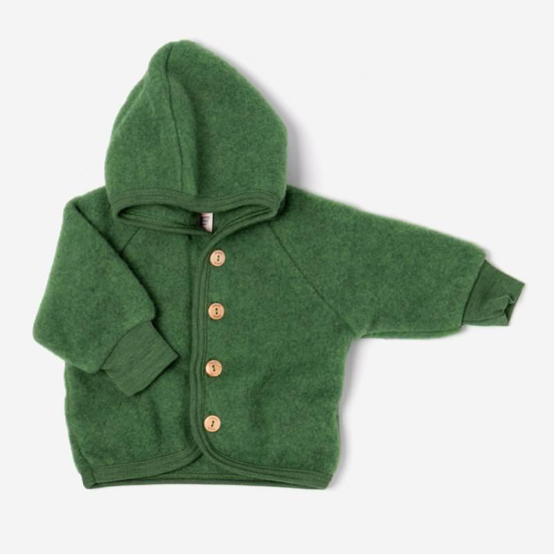 Baby Wollfleece Kapuzenjacke grün