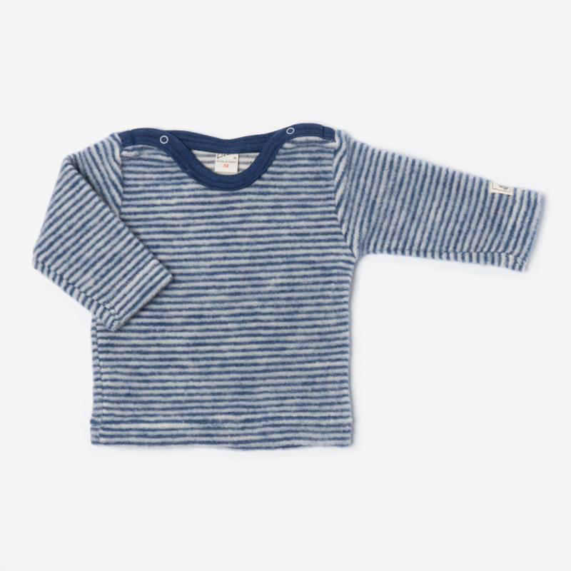 Shirt Ringel Wollfrottee-Plüsch marine
