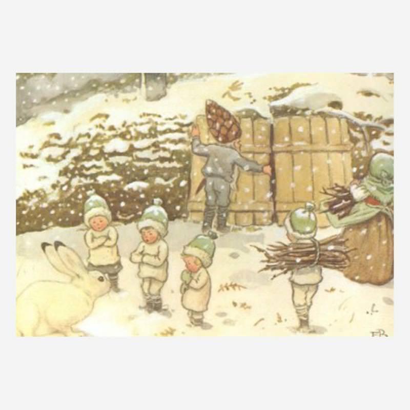 Postkarte Wichtelkinder Winter