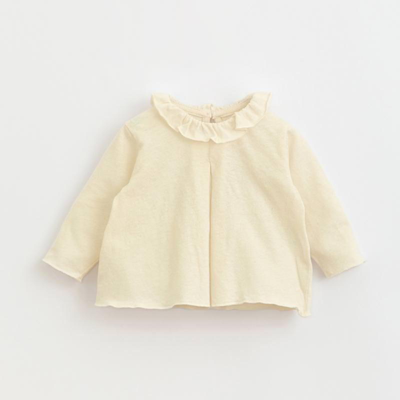 Jersey Shirt Volantkragen windflower weiß