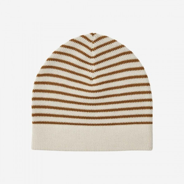 Mütze striped Wolle ecru/sienna
