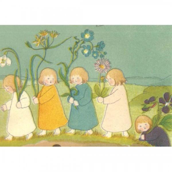 Postkarte Blumen Wurzelkinder