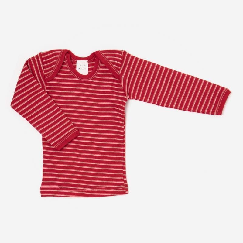 Schlupfhemd Wolle Ringel rot langarm Shirt Schlupfkragen 1