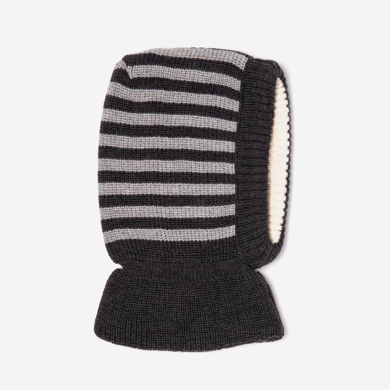 Schalmütze Wolle/Baumwolle grau Ringel