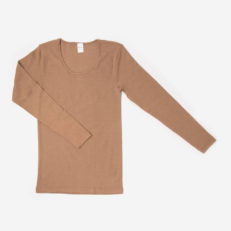 Damen Unterhemd langarm von Hocosa aus Wolle/Seide in camel 1
