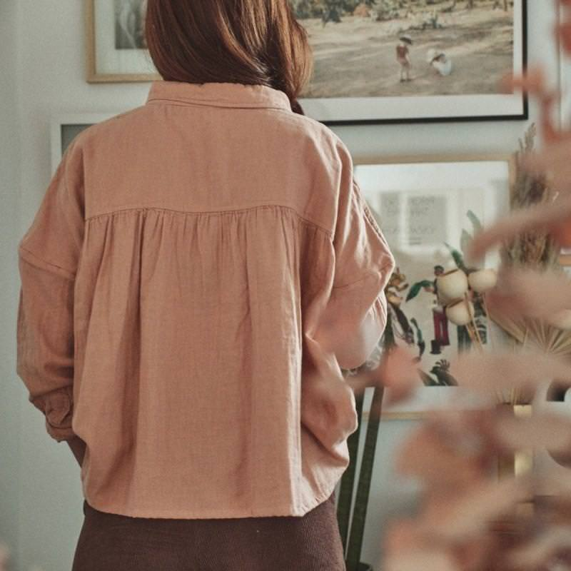 Damen Bluse OSMONDE von Poudre Organic aus Bio-Baumwolle in maple sugar 4