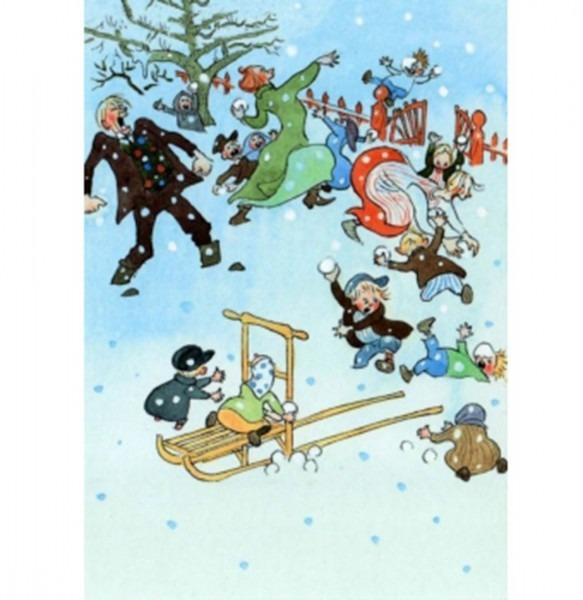 Postkarte Michels Schneeballschlacht