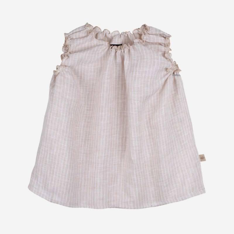 Baby Sommerhemd aus Leinen von Pure Pure in beige gestreift