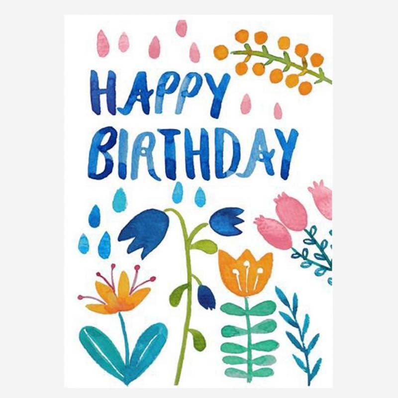 """Postkarte """"Happy Birthday"""" (Blumen)"""