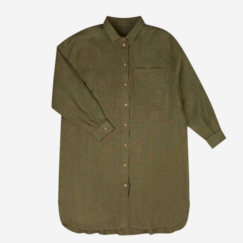 Damen Shirtdress Pepi Leinen olive