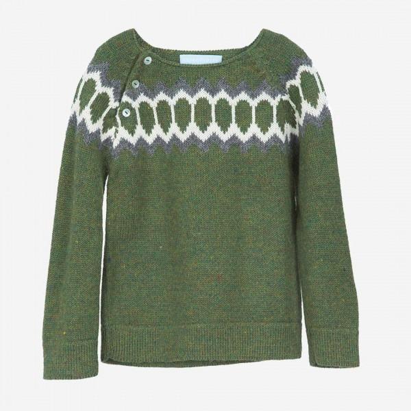 Pullover Alpaca Raglan Green, handknittet