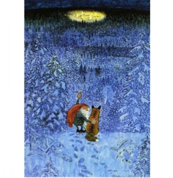 Postkarte Tomte und der Fuchs