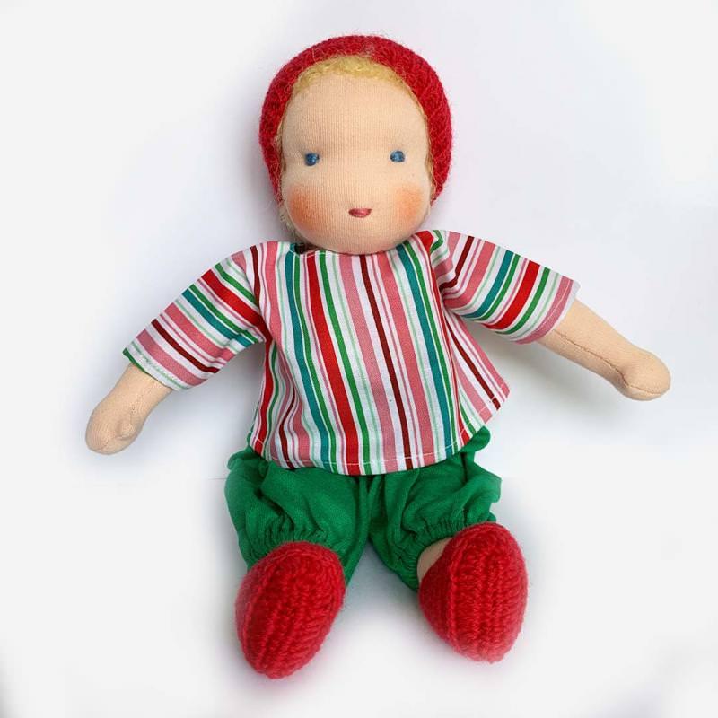 Puppen Junge nach Waldorfart groß blondes Haar