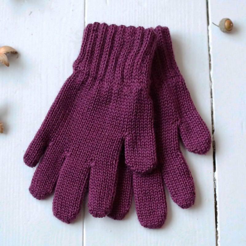 Finger Handschuhe Merinowolle brombeere