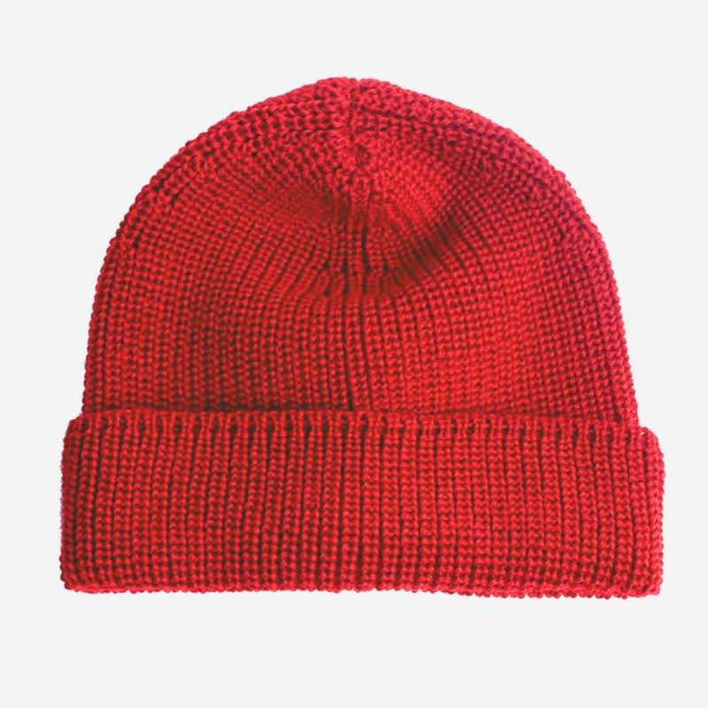Erwachsenen Seemanns-Mütze mit Umschlag von strick chic aus Wolle in rot