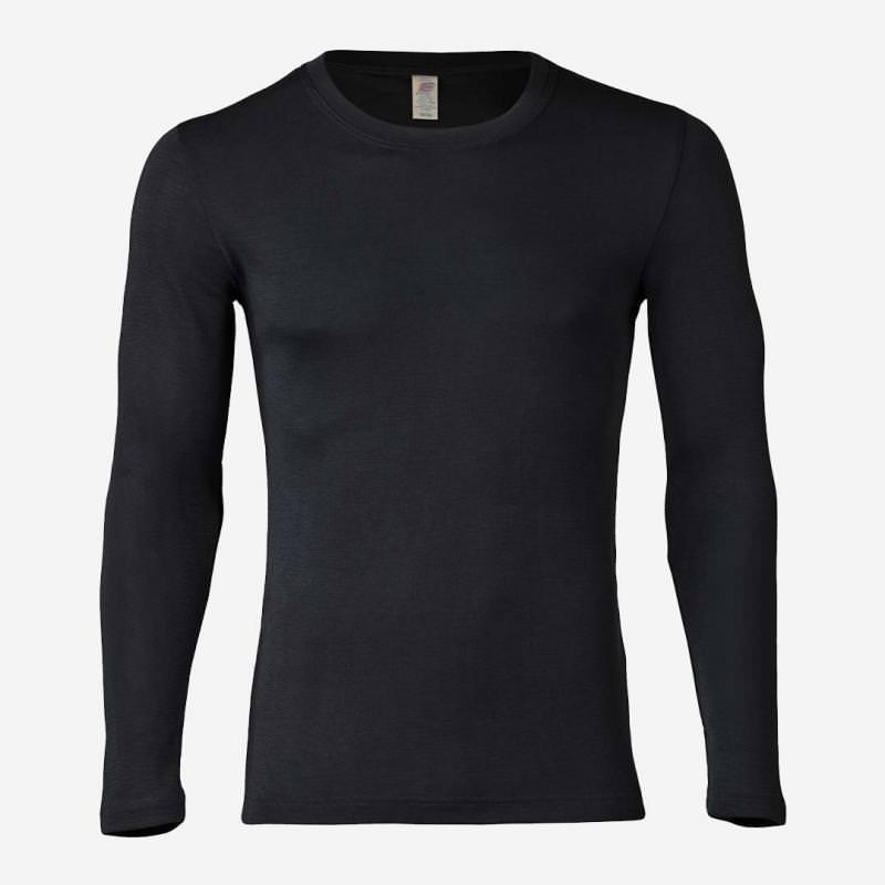 Herren Shirt Wolle/Seide langarm schwarz