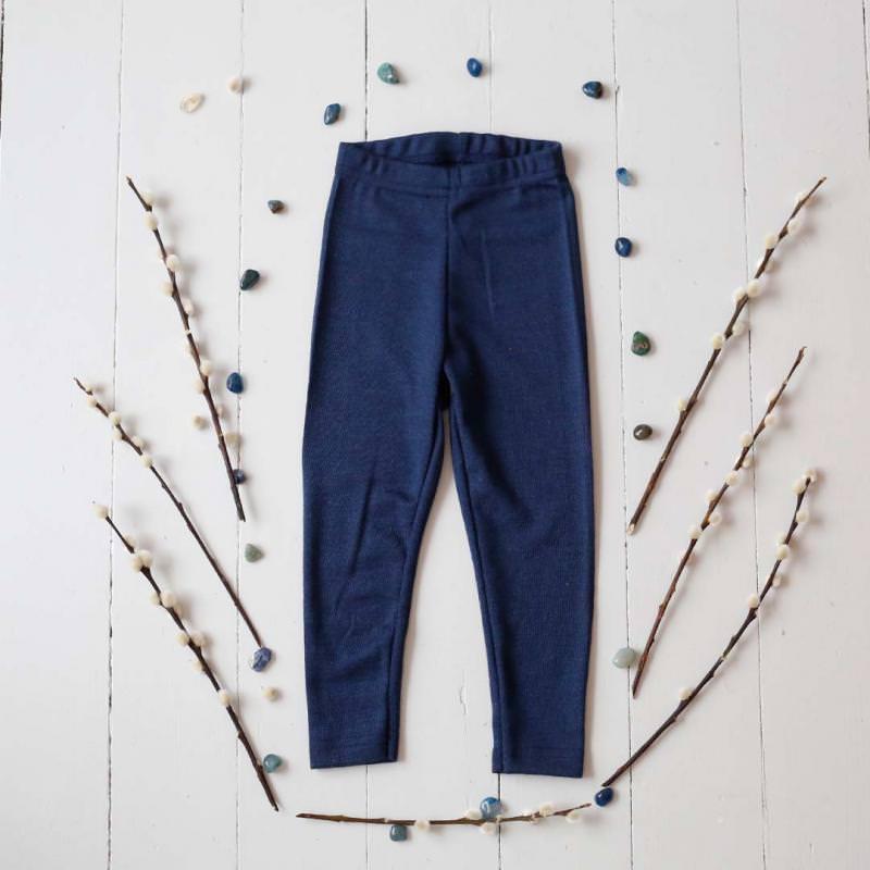 Leggings Wolle/Seide marineblau