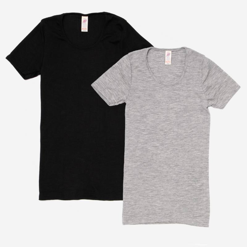 Damen kurzarm Shirt mit Rundhalsausschnitt von Engel Natur aus Wolle/Seide, schwarz und hellgrau