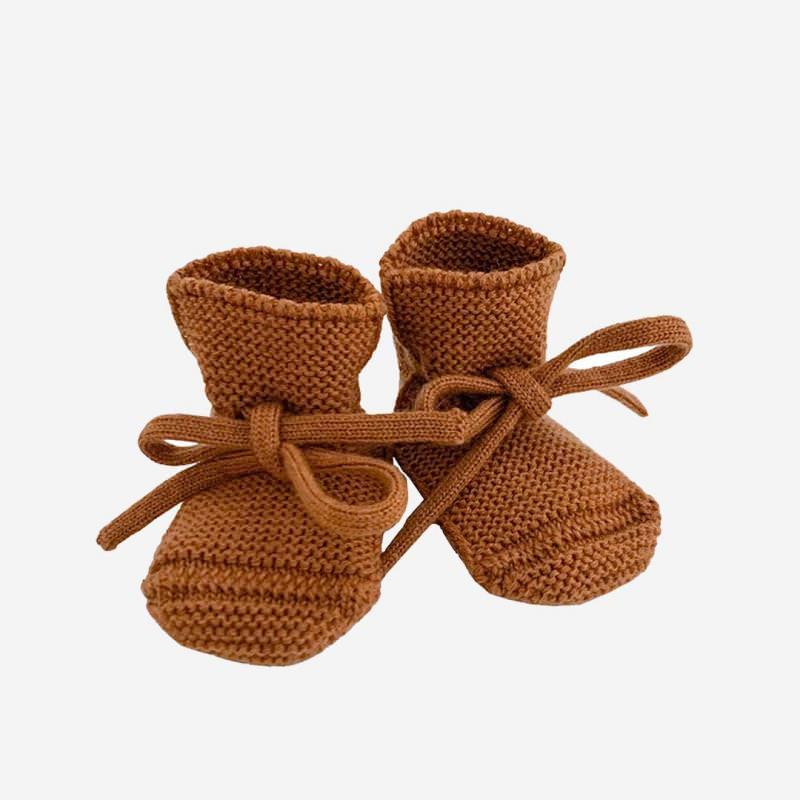 Babyschühchen BOOTIES Merinowolle rust