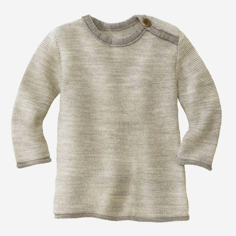 Kinder Melange-Pullover von Disana aus Wolle in grau-natur