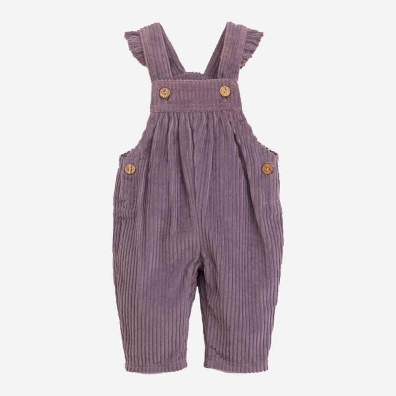 Baby Latzhose Cord von Play up aus Bio-Baumwolle in lavander